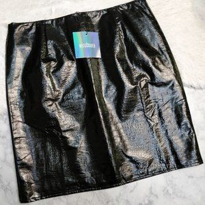 NEW Missguided Mini Skirt Faux Patent Croc Size 8